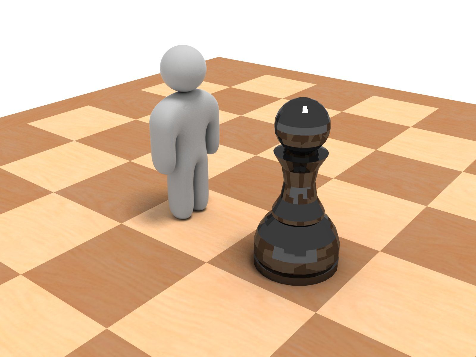 stock image of figure and pawn on chess board
